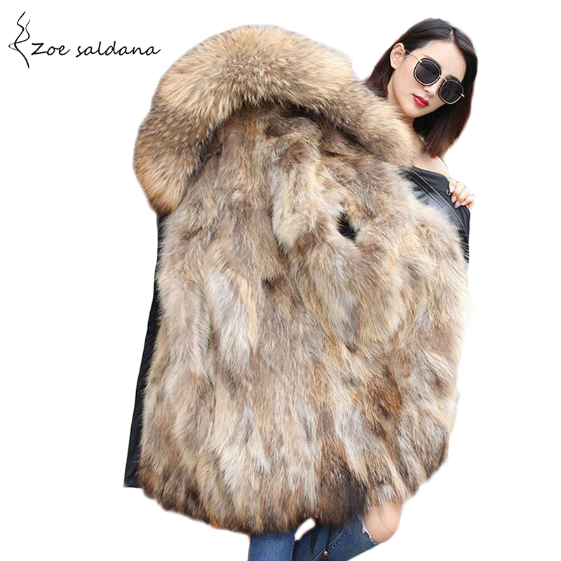 Zoe Saldana 2017 Women Thick Parkas Long Winter Jacket Real Fur Hooded & Liner Outwear Female Winter Coat zoe saldana 2017 cotton long parkas for women winter fur collar thick warm hooded solid coat slim zipper jacket