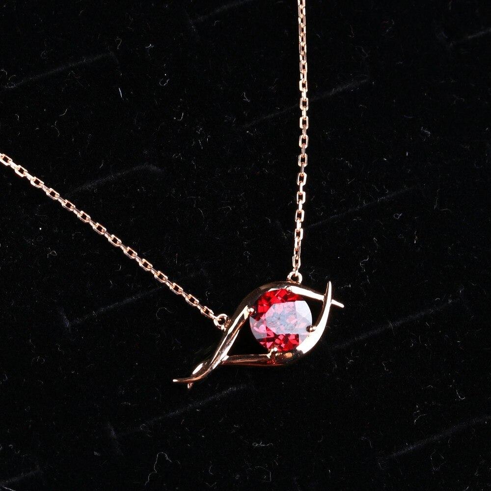 Offre spéciale nouveau Design l'oeil rouge or Rose P. ycord G. arnet pendentif collier bijoux de haute qualité pour les femmes cadeau