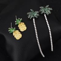 Brand 925 Sterling Silver Micro Pave Cubic Zirconia Pineapple Coconut Tree Tassel Earrings For Women