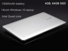 GMOLO 14inch Windows 10 laptop tablet 10000mAh battery Windows 10 Z8350 Quad core Intl 4GB/64GB EMMC WIFI webcam bluetooth