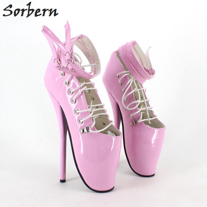 Sorbern Women Ballet Thin Heel Boots Shoes Unisex Plus Size 18cm Heels Pointed Toe Plus Size 36-46 Lace Up Ladies Party Boots цена