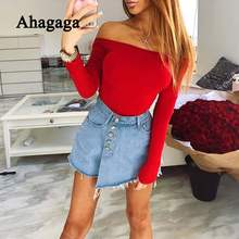 Ahagaga 2019 Summer Rompers Women Jumpsuits Fashion Solid Red Long Sleeve Elegant Sexy Club Slash Neck Women Bodysuits Rompers(China)