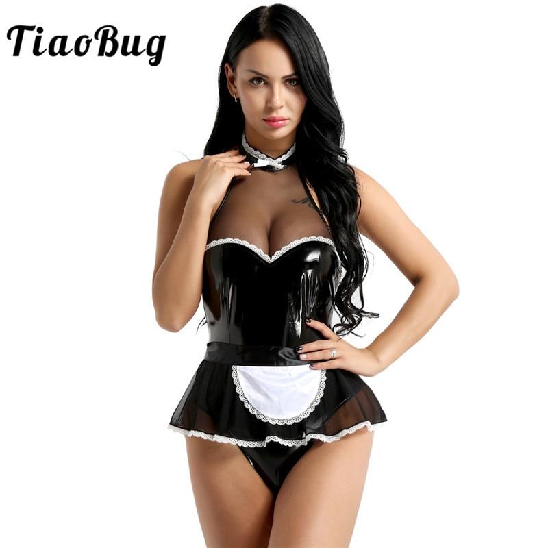 Beducht Tiaobug Vrouwen Maid Kostuum Uniform Zwart Lakleer Halter Jumpsuit Met Schort Vrouwelijke Dienstmaagd Cosplay Sexy Kostuums Set Een Plus Een Gratis
