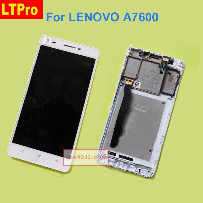 LTPro TOP QUALITY Preto/Branco LCD Screen Display Toque Digitador Assembléia com Frame Para Lenovo A7600 A7600M S8 Telefone partes