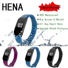 Хена Смарт часы браслет группа IP67 OLED Сенсорный экран сердечного ритма крови Давление монитор времени Смарт часы браслет