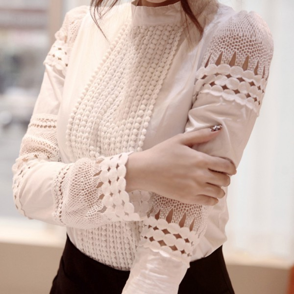 Women Sexy Lace   Blouse     Shirt   Casual Tops Long Sleeve White   Blouse   Female Stand Hollow Out Elegant   Blouses   Camisa 2018
