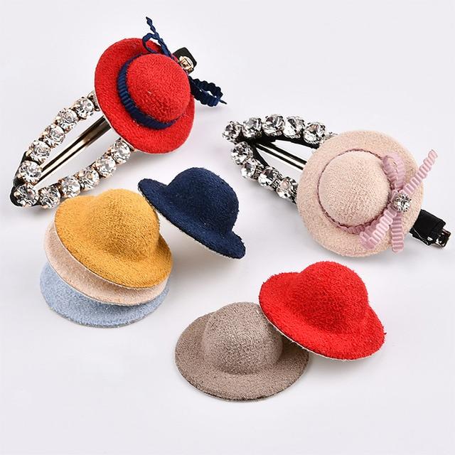 Free Shipping 40pcs/lot 35MM 3D Wool Felt Kawaii Hat Shape Button Patch Stickers Girls Hair Jewelry Bow Center Ornament Buttons