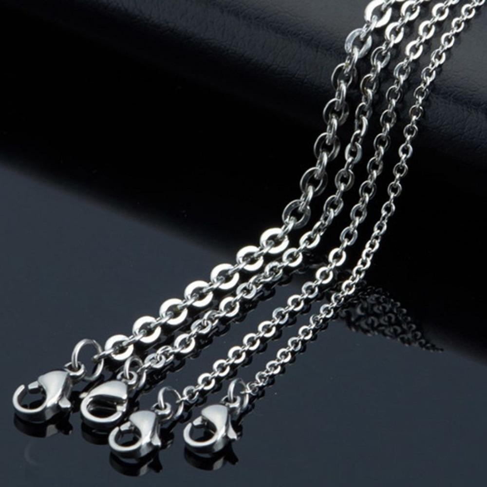 """100% QualitäT 100 Stücke Frauen Großhandel Silber Starke Schweiß Edelstahl Rolo Kette Halskette 1,5/2/2,5/3,2mm 16 """"-36"""" Jade Weiß"""