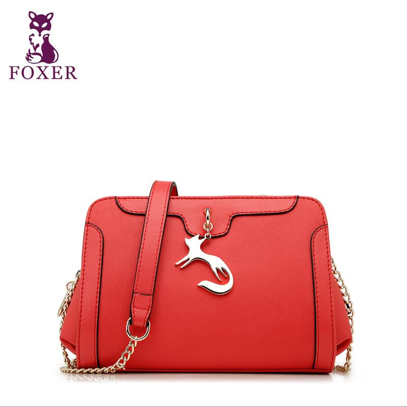 2017 New FOXER brand women leather bag fashion high quality women simple shoulder messenger cowhide platinum small bag 2018 new foxer brand women leather bag high quality fashion chains women shoulder messenger bag cowhide black simple small bag