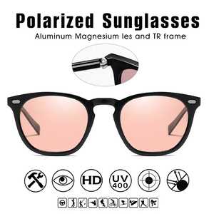 Image 4 - Brand Design Intelligent Photochromic Sunglasses Women Polarized Men Driving  Sun Glasses Pink Tinted color lunette soleil femme