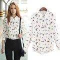 Verão Outono Roupa Para As Mulheres 2016 Estilo Vintage Blusa Terno-Street Style vestido Animal Print Camisas Femininas Blusa