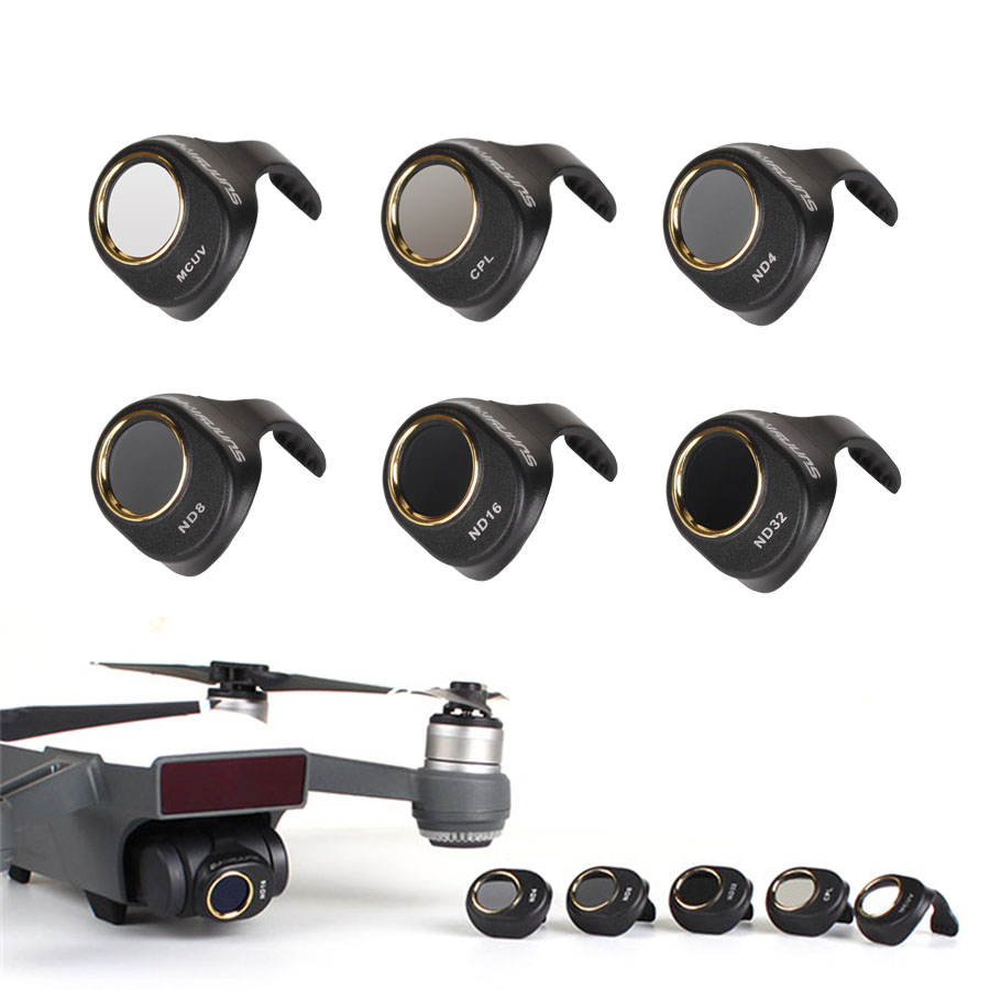 Newest Spark Filters Kit MCUV CPL ND4 ND8 ND16 ND32 ND64 HD Camera Lens Filter Set For DJI Spark Drone Dimmer Light Microscopy
