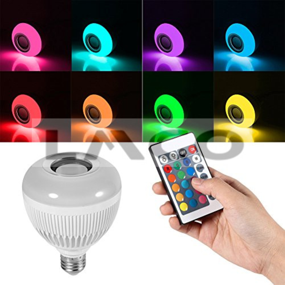 12W E27 Dimmable LED Bulb Wireless Smart Bluetooth Built-in Audio Speaker RGB+White Music Light Bulbs with Remote Control icoco wireless bluetooth remote control mini smart audio speaker audio rgb audio 24 led e27 colorful playing