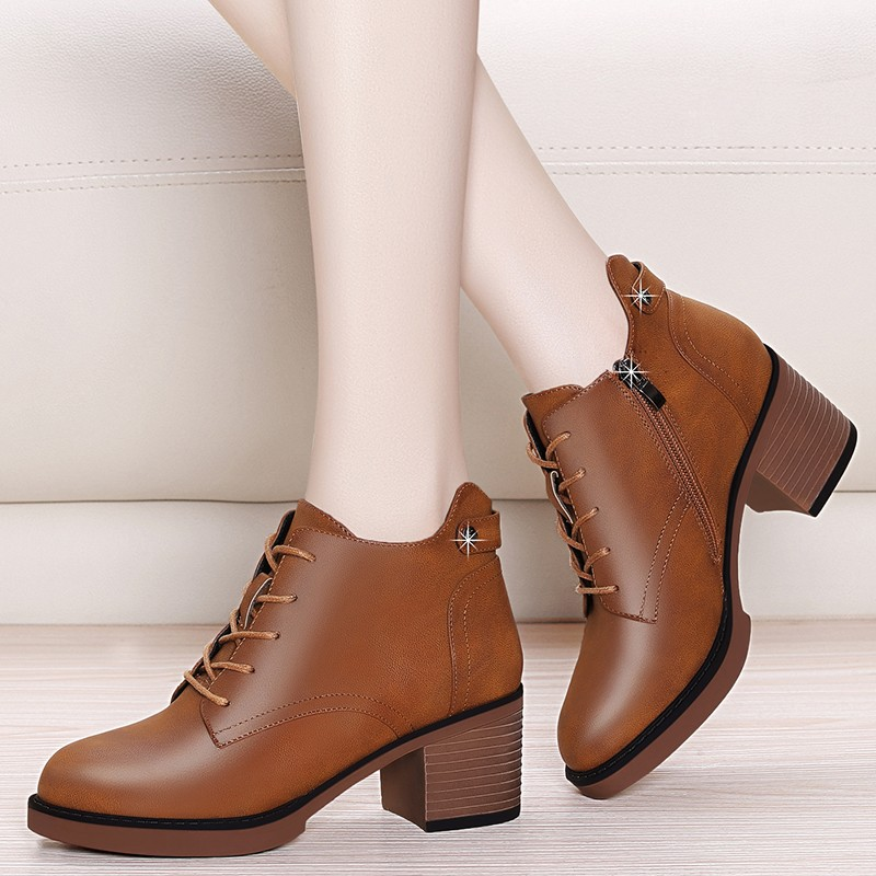 New Fashion European Style Black Ankle Boots Round Toe Zip Martin Boots Sheepskin Leather Woman Shoes With Warm Plush YG-A0019New Fashion European Style Black Ankle Boots Round Toe Zip Martin Boots Sheepskin Leather Woman Shoes With Warm Plush YG-A0019