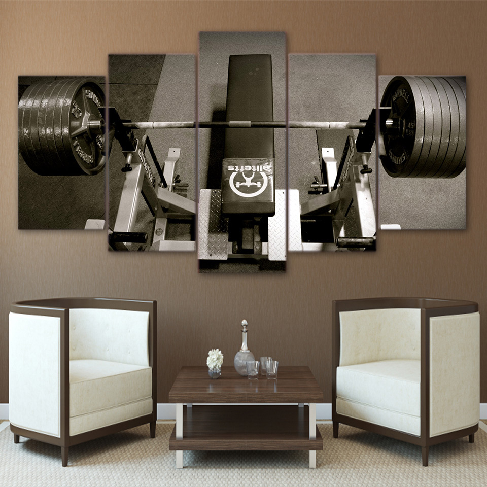 Canvas Wall Art Pictures Frame Kitchen Restaurant Decoration 5 Pieces Bodybuilding Equipmen Sports Living Room HD Printed Poster