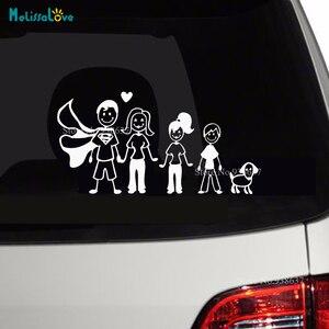 Стикер на машину с собакой Happy Family, Папа, мама, сын, дочь, задний лобовое стекло, настенный стикер для дома, водонепроницаемый стикер для спаль...