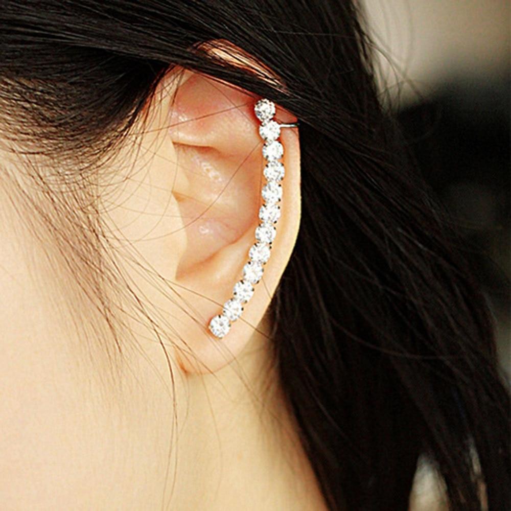 Fashion Ladies CZ Row Rhinestone Crystal Full Ear Clip Cuff Silver Earring