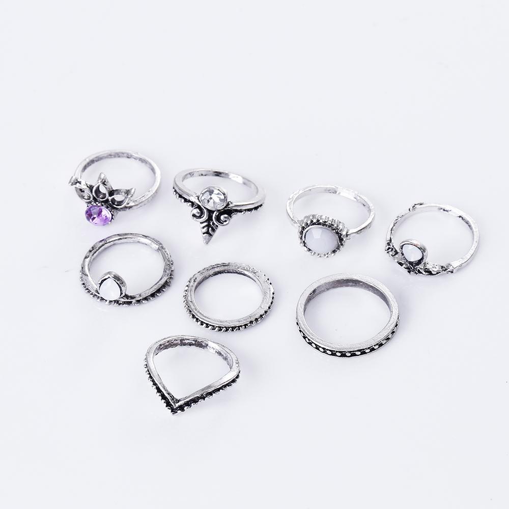 HTB1OkllRXXXXXczXFXXq6xXFXXXX 8-Pieces Bohemian Vintage Retro Lucky Stackable Midi Ring Set For Women - 2 Colors
