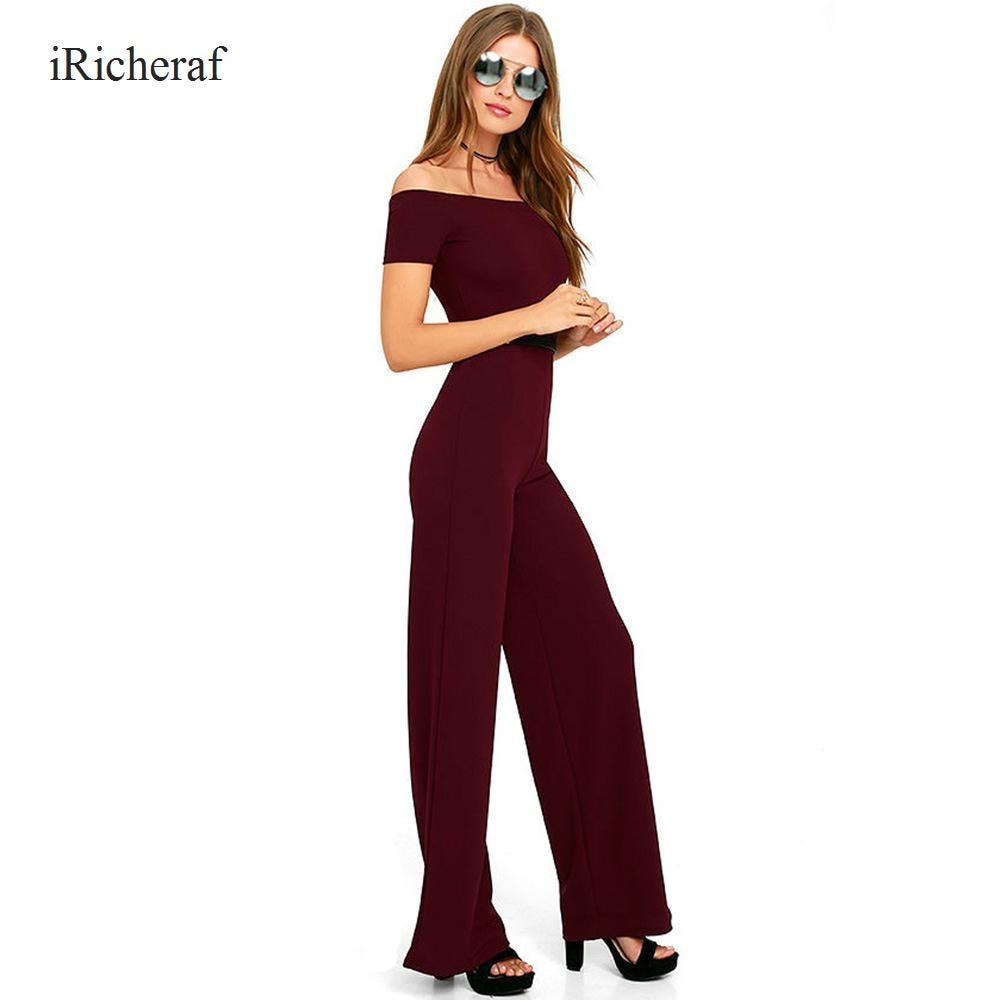 Sexy Jumpsuit Women Short Sleeve Slash Neck Straight Solid Slim Macacao Plus Size Summer New Elegant Jumpsuits Romper Hot Sale