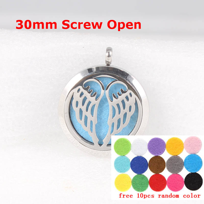 Free Felt Pads and Chain! Angel Wings 30mm Stainless Steel Aromatherapy / Essential Oil Stainless Steel Perfume Diffuser Locket