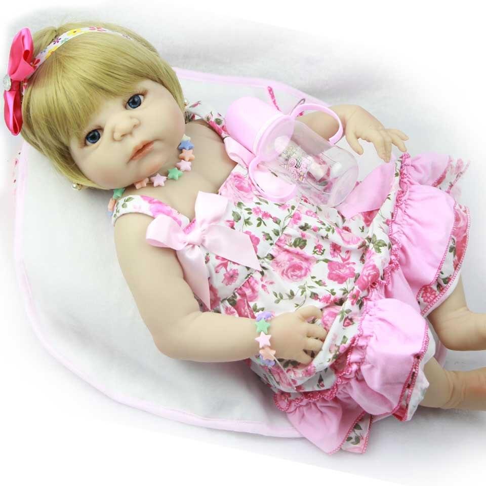 Здесь можно купить   23 Inch Full Vinyl Body Reborn Baby Dolls Realistic Gold Hair Babies Doll Silicone Girl Boneca Brinquedos New Design Bebe Gift Игрушки и Хобби