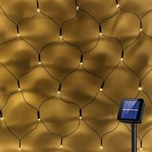 태양 강화한 Led 그물망 끈 빛 1.1x1.1M 2x3M 가정 정원 창 커튼 장식 빛 크리스마스 결혼식 당을 위해