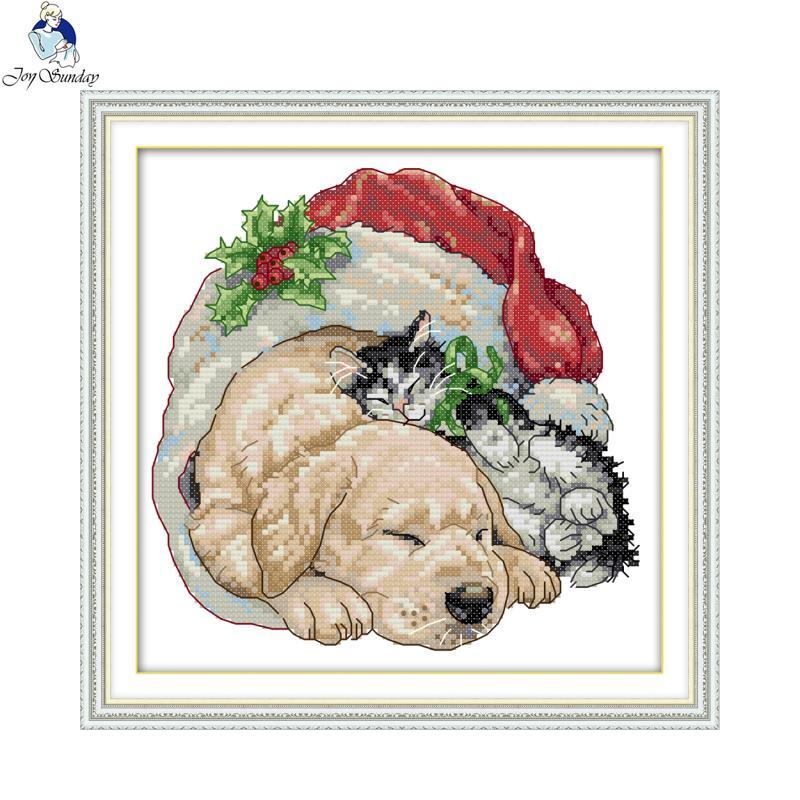 Joy Domingo Navidad gato y perro patrones DIY hecho a mano DMC 14ct ...