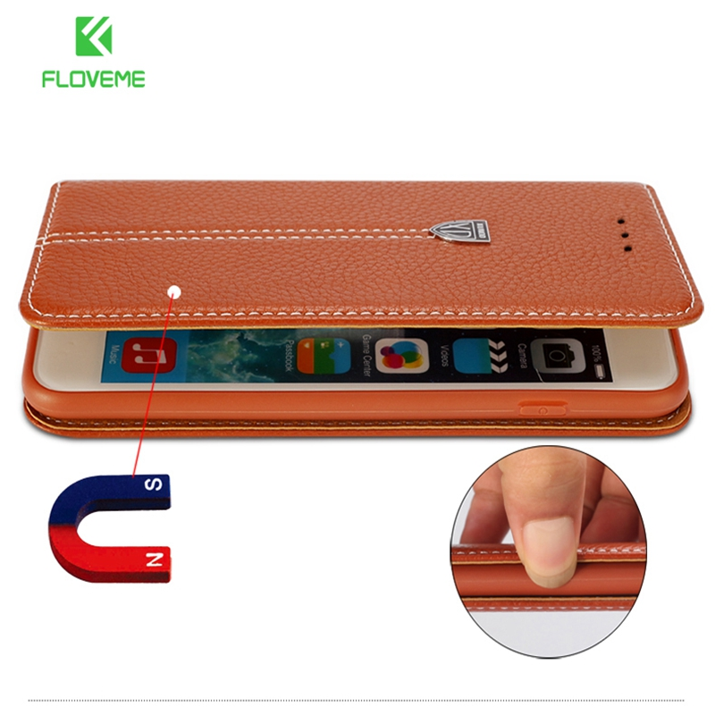 FLOVEME Luxury Flip Leather Phone Cases For iPhone X 7 8 6 6s Plus Case Vintage Magnetic Wallet Phone Bag Holder Stand Cover