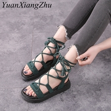 цены 2019 Fashion Cross Strap Women Sandals Summer Flats Women Shoes Comfortable Platform Ladies Gladiator Sandals Plus Size 34-43