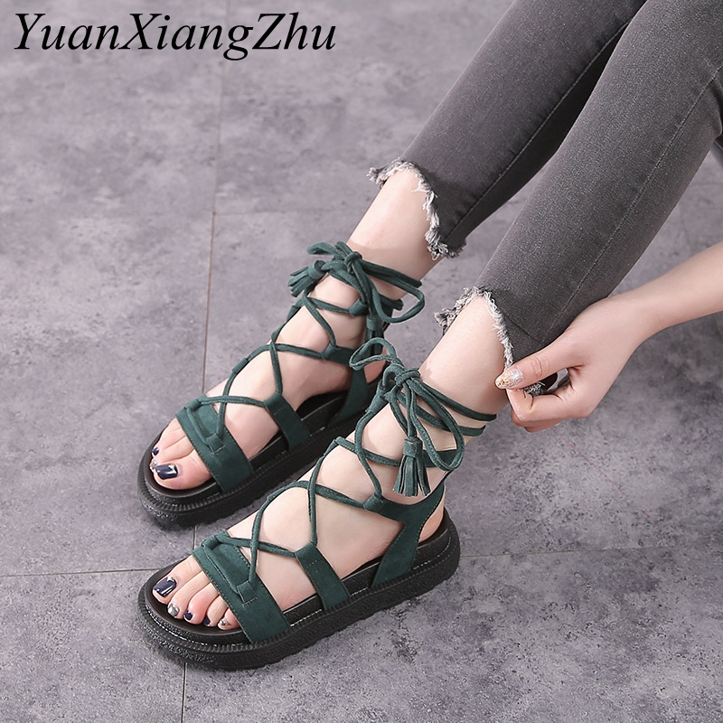 34-43 Size Women Flat Sandals Summer 2018 Ankle Strap Cow Suede Women Shoes Platform Sandals Peep-toe Flat Roman Female Sandals цена и фото