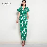 Seamyla New Fashon Runway Two Piece Set Short Sleeve Summer Green Banana Leaf Print Suits Women