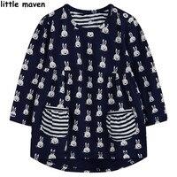 Little Maven Kids Brand Clothing 2016 New Summer Girls Cotton Rabbit Printing Pocket Dress L005
