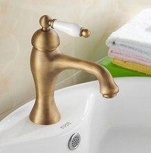 Антиквариат латунь фарфор одиночный ручка ванная комната сосуд раковина раковина смеситель смеситель кран anf102