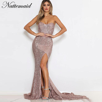 NATTEMAID Mermaid Bodycon Dress Summer 2018 Backless Strapless Off Shoulder Sexy Dress Female Split Maxi Long Party Vestidos