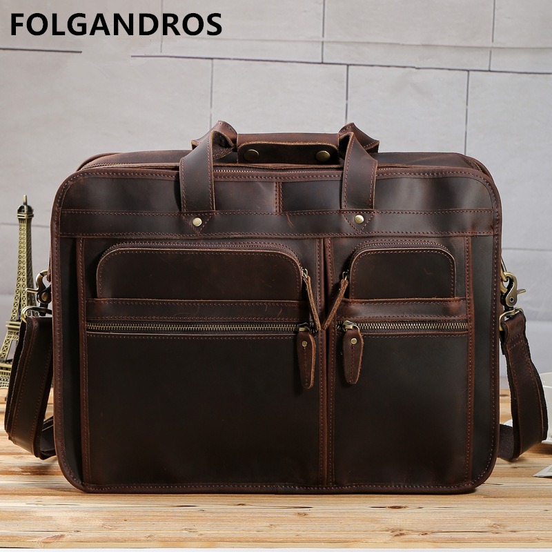 Men's Genuine Leather Briefcases Vintage Super Large Capacity Multi-function Business Bag Cowhide Computer Document Briefcase