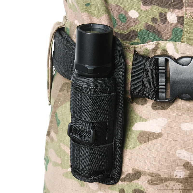 Tactical Outdoor Flashlight Pouch Rotatable 360 Degrees For Hunting Sports LED Lighting Clip Torch Durable Nylon Holster Belt