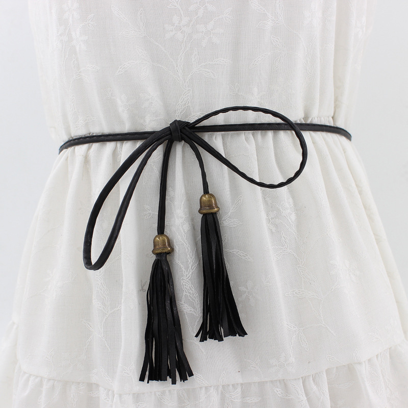 8 Color PU Knitted Belts For Women Sexy Lace Up Tassel Belt Girls String Waistband Black White Red Gold Chain Belt Women