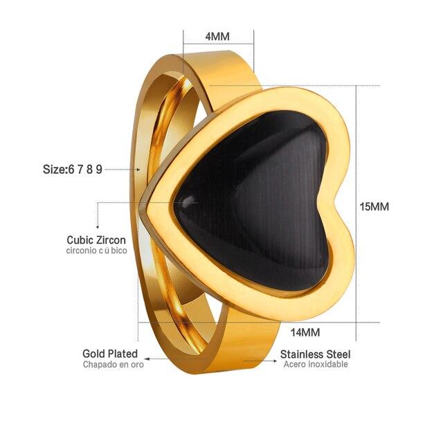 Luxsteel anillos coeur opale anneaux pour les femmes fête en acier inoxydable marque bagues de fiançailles cadeau de mariage
