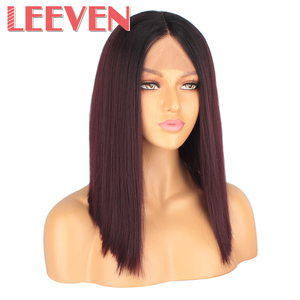 Image 2 - Leeven Hair 14'' Synthetic Lace Front Wig Short Straight Bob Wigs For Woman Black Brown Classic Middel Part Lace Frontal Wig