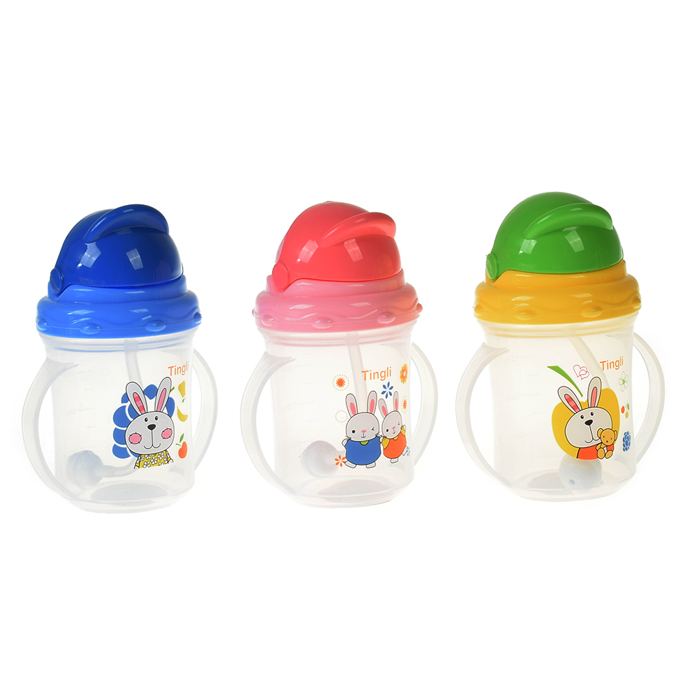 Lovely Children Baby Cute Rice Cereal Feeding Bottles Newborn Straw Drinking Bottle Sippy Bottle With Handles