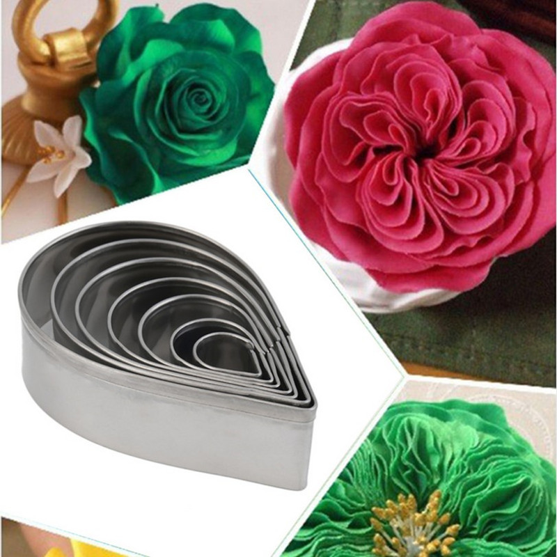 Austin Rose <font><b>Cutter</b></font> <font><b>Cake</b></font> <font><b>Decoration</b></font> <font><b>Tools</b></font> 7 Pcs Stainless Steel Water Drop Shape Fondant <font><b>Flower</b></font> Molds Petal Stencils Cookie H858 image
