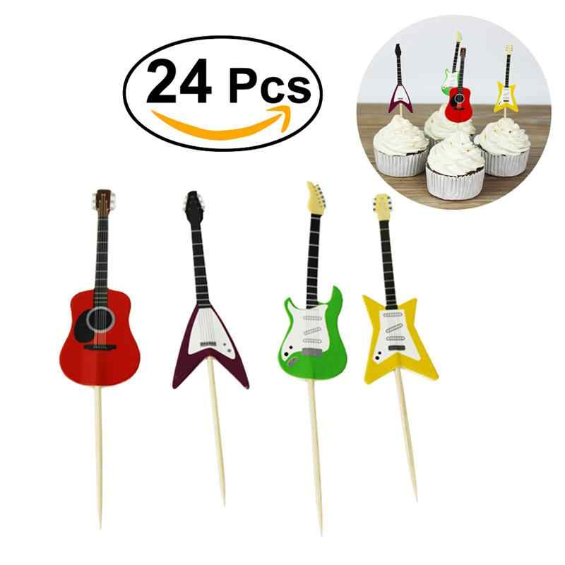 24pcs Guitar Musical Instrument Shape Cupcake Toppers Cupcake Decorating Tools for Party Supplies
