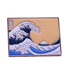 Gran ola de la costa de Kanagawa pin Hokusai pintura arte broche paisaje de olas del mar joyería artista regalo de profesor