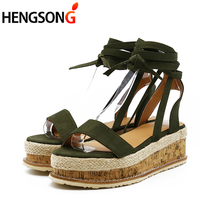 b2887a1a231 US $14.11 35% OFF|Summer White Wedge Espadrilles Women Sandals Open Toe  Gladiator Sandals Women Casual Lace Up Women Platform Sandals-in Middle  Heels ...