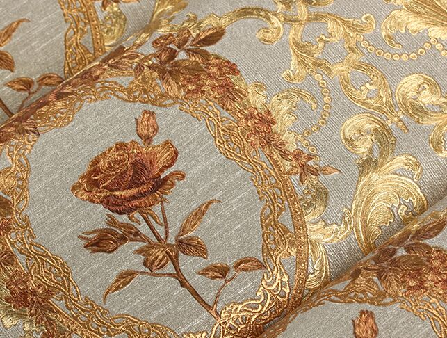New luxury European golden floral wallpaper Luxury Rose flowers background wallpaper For bedroom 3D Gold foil Wall Paper mural 2015 new brand 5m roll victorian country style for floral flowers background wallpaper