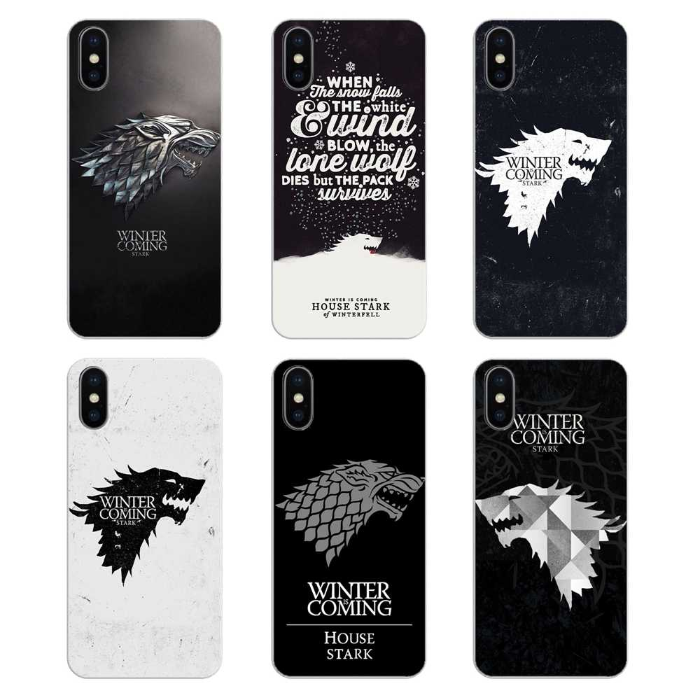 For Apple iPhone 4 4S 5 5S 5C SE 6 6S 7 8 X XR XS Plus MAX Silicone Phone Shell Cover Game of thrones House Stark wallpaper