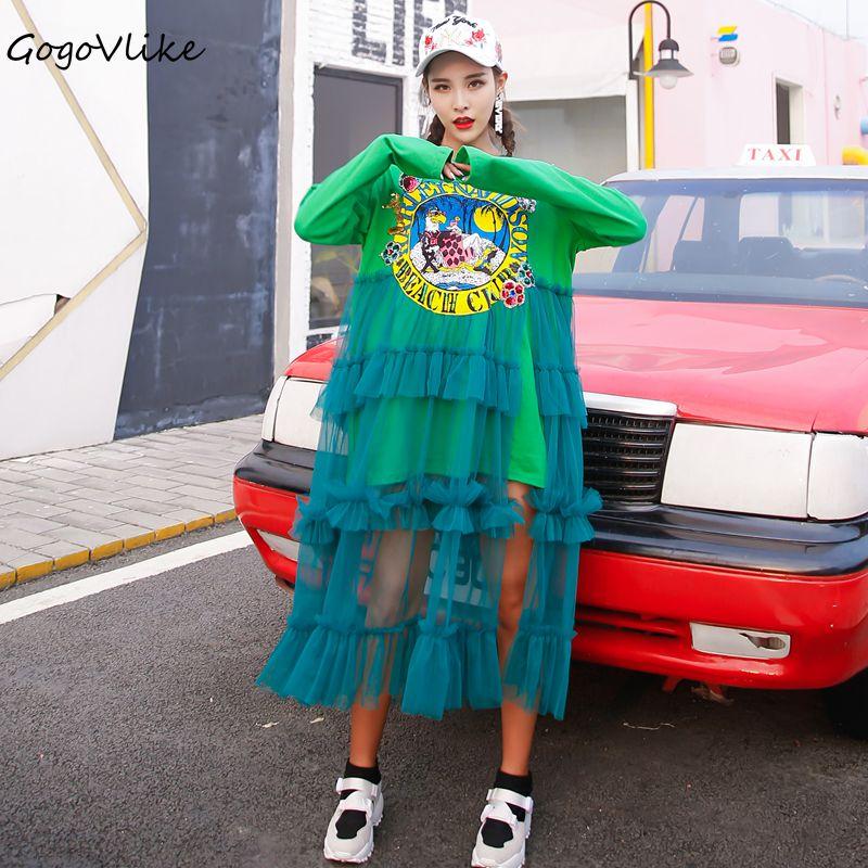 Été à manches courtes paillettes lettre Tulle épissé robe 2019 femmes vert lâche longue maille Vestidos conception Cartoon Print LT267