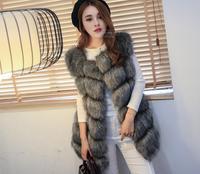 Faux Fur Coat Winter Women 2018 New Fashion Casual Warm Slim Sleeveless Faux Fox Fur Vest Winter Jacket Women vest