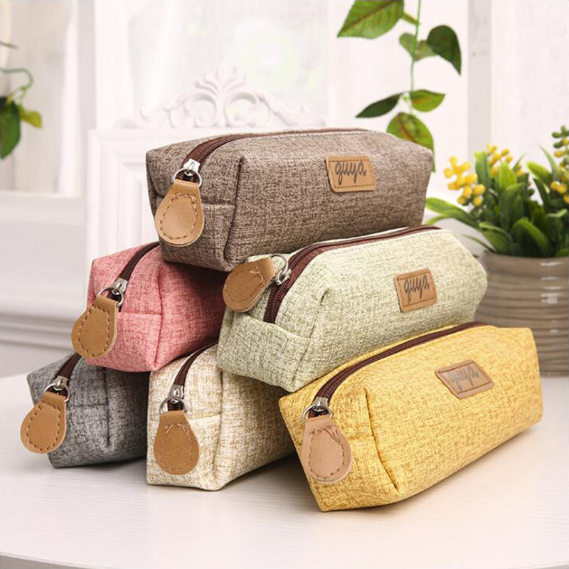 Simple Solid Color Series Pencil Case Office Stationery And School Supplies High Capacity PU Material Pencil Bag 1PCS