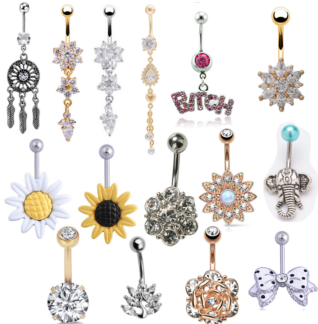 Fancy Movable Out Line Jeweled Star 925 Sterling Silver with Stainless Steel Belly Button Rings